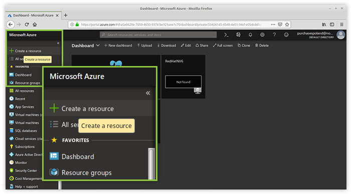Click create a resource to start the VM creation procedure