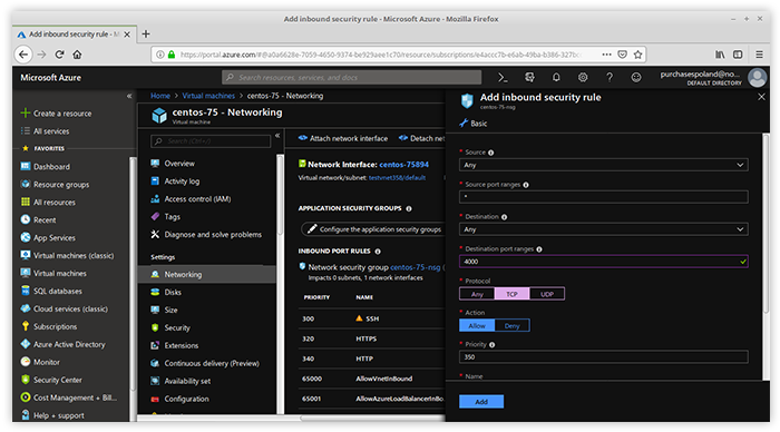 Enter the Networking panel on the Azure dashboard