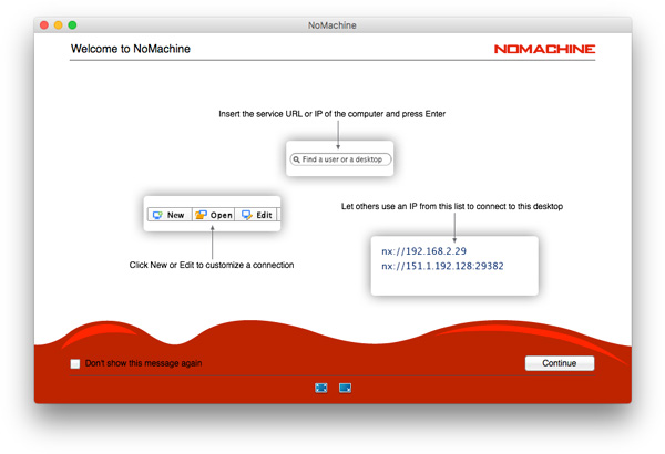 NoMachine welcome panel displays local and external IP addresses of the host