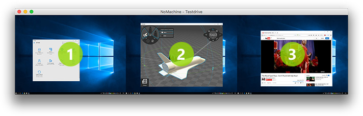 On a LAN, all available NoMachine computers are advertized. Desktop sessions are identifiable with the 'world' icon
